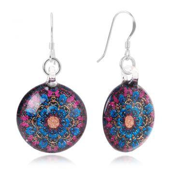 SUVANI Sterling Silver Hand Blown Glass Blue & Pink Mandala Art Flower Round Dangle Earrings