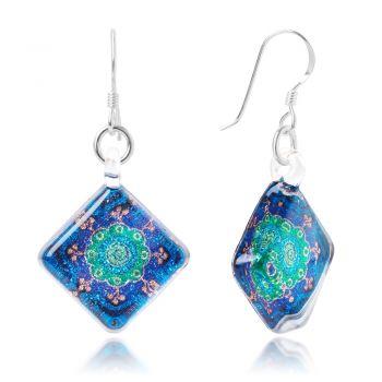 SUVANI Sterling Silver Hand Blown Murano Glass Blue Green Mandala Flower Square Dangle Earrings