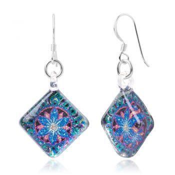 SUVANI Sterling Silver Hand Blown Murano Glass Green Blue Mandala Lotus Flower Square Dangle Earrings