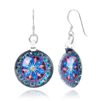SUVANI Sterling Silver Hand Blown Murano Glass Green Blue Mandala Lotus Flower Round Dangle Earrings