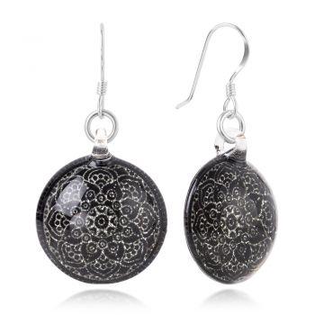 SUVANI Sterling Silver Hand Blown Venetian Murano Glass Black Mandala Flower Dangle Earrings