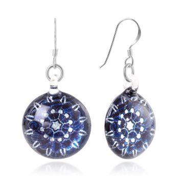 SUVANI Sterling Silver Hand Blown Venetian Murano Glass Blue Mandala Flower Round Dangle Earrings