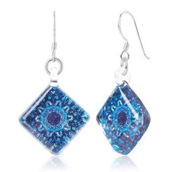 SUVANI Sterling Silver Hand Blown Venetian Murano Glass Blue Mandala Flower Square Dangle Earrings