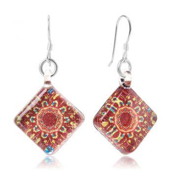SUVANI Sterling Silver Hand Blown Venetian Murano Glass Orange Mandala Flower Square Dangle Earrings