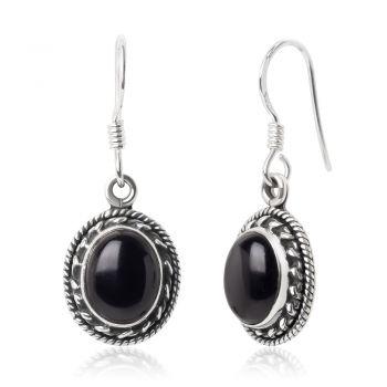 "SUVANI Sterling Silver Black Onyx Gemstone Oval Shaped Rope Edge Vintage Dangle Hook Earrings 1.3"""