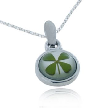 SUVANI Stainless Steel Real Irish Four (4) Leaf Clover Good Luck Shamrock Round Pendant Necklace, 18 inches