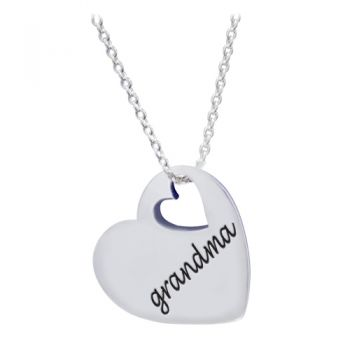 """925 Sterling Silver """"Love Grandma"""" Heart Grandmother Pendant Necklace, 18 inches"""