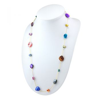 Natural Dyed Multi-colored Shell Glass Beads Long Opera Length Necklace, 31 inch - Nickel Free