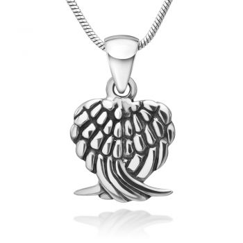 925 Oxidized Sterling Silver Double Angel Wings Pendant Necklace, 18 inches - Nickel Free