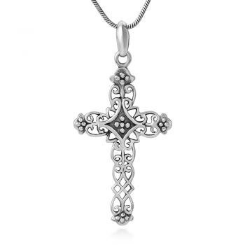 """925 Sterling Silver Detailed Filigree Antique Vintage Cross Pendant Necklace, 18"""" Chain"""