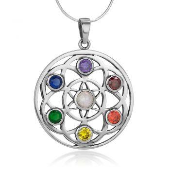 "SUVANI Sterling Silver Seven (7) Chakra Filigree Flower of Life Mandala Pendant Necklace, 18"" Chain"
