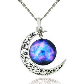 """Crescent Moon Filigree Black Glass Cabochon Galaxy Universe Art Picture Pendant Necklace, 18"""" Chain"""