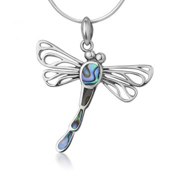 SUVANI 925 Sterling Silver Open Filigree Abalone Shell Flying Dragonfly Pendant Necklace, 18 inches Chain