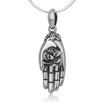 """925 Sterling Silver Buddha Hand Holding Blooming Lotus Flower Purity Symbol Pendant Necklace 18"""""""