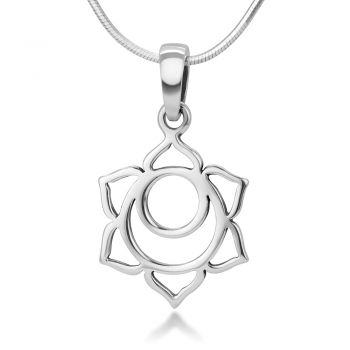"""925 Sterling Silver Filigree 1st to 7th Chakra Symbol Charm Healing Pendant Necklace with Chain 18"""""""