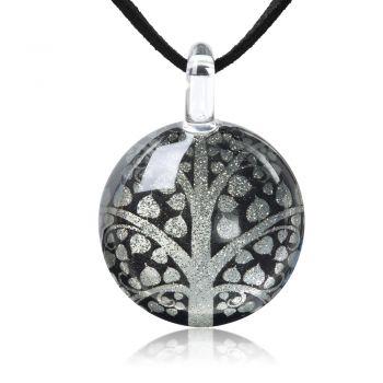 "SUVANI Hand Blown Glass Bodhi Peepal Tree Black Grey Glittery Cabochon Pendant Necklace 17""-19"""