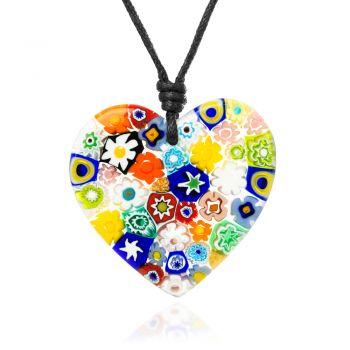 "SUVANI Millefiori Murano Glass Multi-Colored Flowers Heart Big Pendant 40 mm Adjustable Necklace 15""-30"""