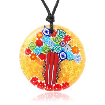 """SUVANI Millefiori Murano Glass Multi-Colored Tree of Life Large Round Pendant 40 mm Necklace 15""""-30"""""""