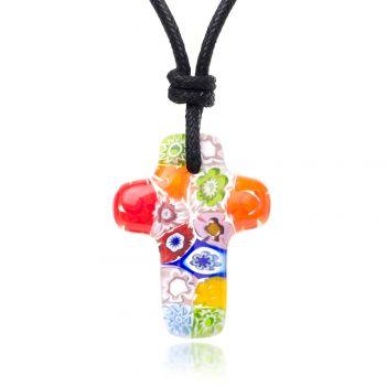 """SUVANI Millefiori Murano Glass Multi-Colored Cross Symbol Pendant 28 mm Adjustable Necklace 15""""-30"""""""