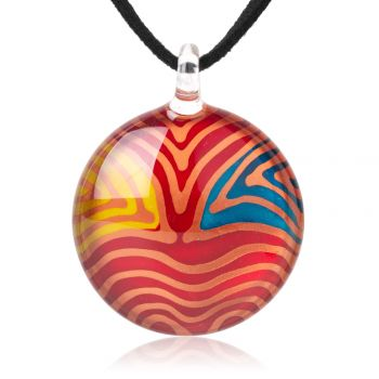 """SUVANI Hand Painted Glass Jewelry Multi-Colored Wave Lines Round Cabochon Pendant Necklace 18""""-20"""""""