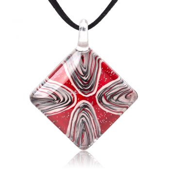 """SUVANI Hand Painted Glass Jewelry Abstract Art Glittering Red Square Pendant Necklace 18""""-20"""""""