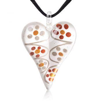 "SUVANI Hand-Painted Murano Glass Jewelry Flower Dots White Puffy Heart Pendant Necklace 18""-20"""