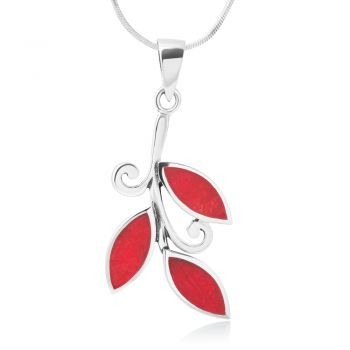 SUVANI Sterling Silver Synthetic Red Resin Olive Leaves Leaf Symbol Pendant Necklace 18''