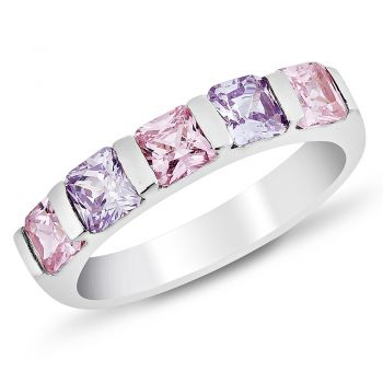 925 Sterling Silver Square Cubic Zirconia CZ Pink Purple Band Ring Jewelry Size 6, 7, 8