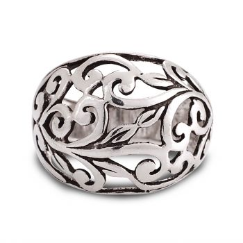925 Oxidized Sterling Silver Filigree Leaves Vine Wide Band Ring Women Jewelry - Nickel Free