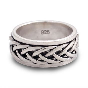925 Oxidized Sterling Silver Woven Celtic Knot Rope Design Eternity Band Ring Unisex Size 6, 7, 8