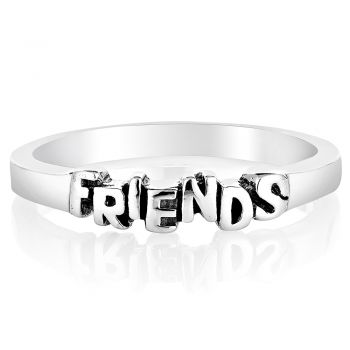 """925 Oxidized Sterling Silver """"Friends"""" Lettered Band Ring Jewelry Size 8 - Nickel Free"""