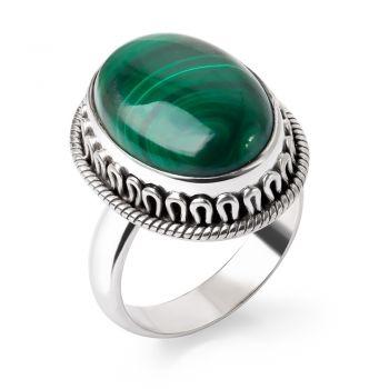 SUVANI Sterling Silver Natural Green Malachite Gemstone Cabochon Oval Shaped Band Ring Size 6 7 8 9