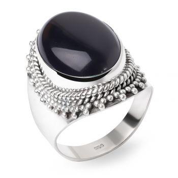 SUVANI Sterling Silver Black Onyx Oval Shaped Double Rope Edge Large Band Ring Unisex Size 6 ,7 ,8