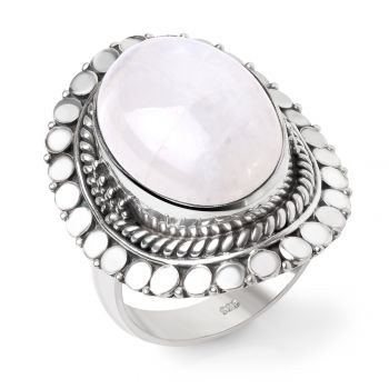 SUVANI Sterling Silver White Moonstone Oval Shaped Rope Edge Large Women Cocktail Ring Size 6 ,7 ,8