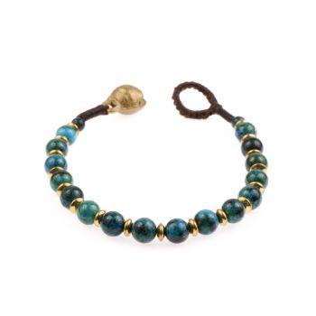Brass and Genuine Green Chrysocolla Carnelian Gemstones Beaded Bracelet