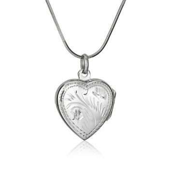 SUVANI 925 Sterling Silver Engraved Heart Love Locket Pendant Necklace, 18 inch Snake Chain