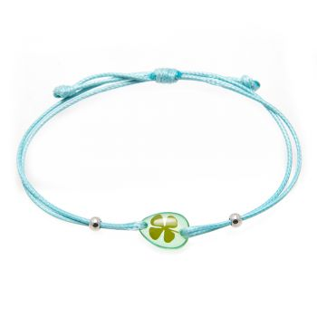 Real Lucky Irish Four (4) Leaf Clover, Good Luck Symbol, Blue Wax Cord Adjustable Length Bracelet