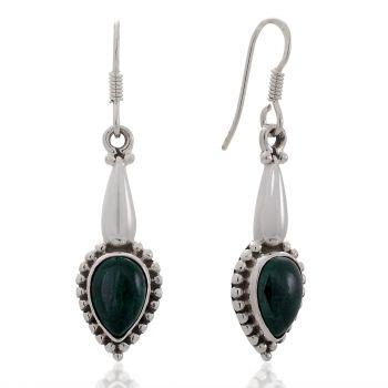 """925 Sterling Silver Green Malachite Gemstones Teardrop Vintage Design Dangle Hook Earrings 1.6"""""""