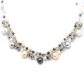 """Silve- tone Cultured Freshwater Pearl Crystal Beads Silk Thread Cluster Necklace 16""""-18"""""""