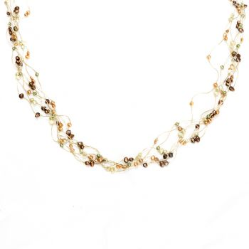 """Multi-Colored Cultured Freshwater Pearl Multi Strand Silk Thread Long Necklace 35""""-37"""""""