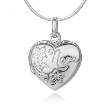 """SUVANI Sterling Silver Engraved Nana Flower Love Heart Shaped Locket Pendant w/Necklace Chain 18"""""""
