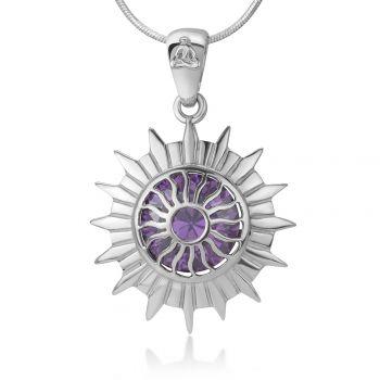 "925 Sterling Silver Sahasrara Crown Chakra Reiki Kundalini Symbol Purple CZ Pendant Necklace 18"""