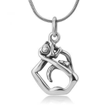 "925 Oxidized Sterling Silver Rhythmic Gymnastic with Ball Gymnast Girl Pendant Charm Necklace 18"""