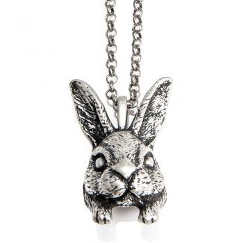 Vintage Retro 3D Rabbit Bunny Head Pendant Necklace Link Chain 19 inches - Nickel Free