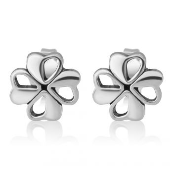 SUVANI Sterling Silver Tiny Little Irish Four (4) Leaf Leaves Clover 8 mm Post Stud Earrings Lucky Jewelry