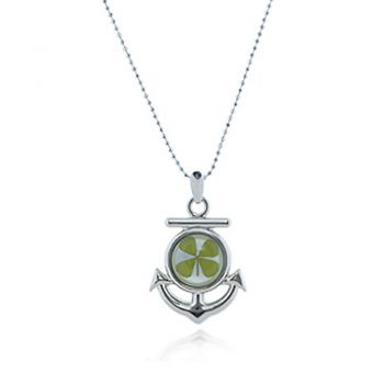 Stainless Steel Real Four Leaf Clover Anchor Pendant Necklace, 16-18 inches