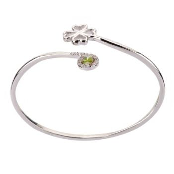 Stainless Steel Real Irish Four Leaf Clover Good Luck Symbol Heart Shaped Leaf CZ Cuff Bracelet