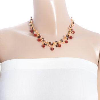 "Handmade Multi-Colored Gemstones Beads Silk Thread Cluster Women Necklace 17"" - 19"""
