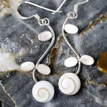 SUVANI 925 Sterling Silver Mother of Pearl Shiva Eye Shell Flower Long Drop Dangle Earrings