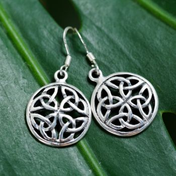 """SUVANI 925 Sterling Silver Trinity Triquetra Celtic Love Knot Symbol Round Dangle Earrings 1.3"""""""